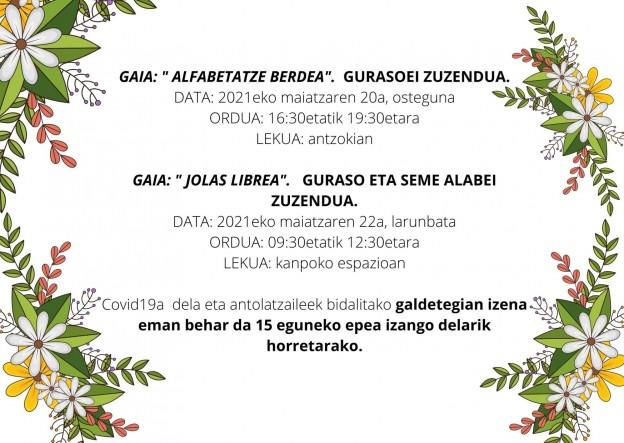 """""""alfabetatze berdea"""" eta """" jolas librea"""""""